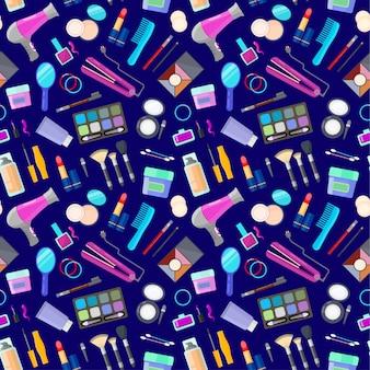 Patrón con herramientas para maquillaje