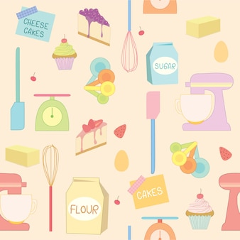 Patrón de herramientas de panadería