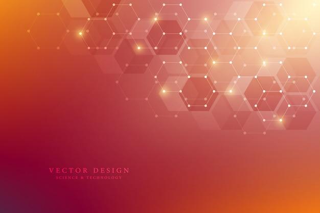 Patrón de hexágonos para antecedentes médicos, científicos y de tecnología digital
