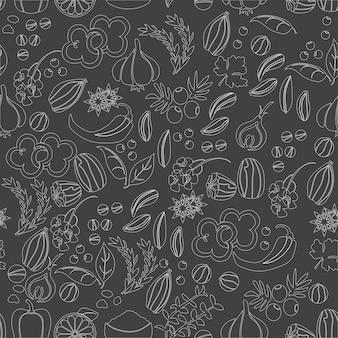 Patrón con hierbas y especias vector dibujado a mano. plantas medicinales, cosméticas, culinarias - vector