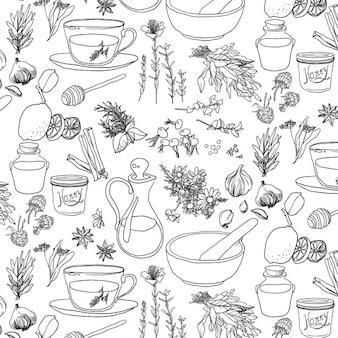 Patrón de hierbas medicinales