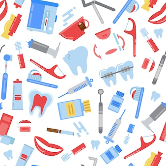Patrón de higiene de dientes de estilo plano. ilustración de higiene odontológica, cepillo de dientes y pasta de dientes, atención de estomatología.
