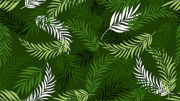 Patrón de hoja de palma. fondos de pantalla de hojas tropicales verdes. fondo de plantas de árboles exóticos. textura transparente de vector botánico de verano. hoja de palmera, ilustración de plantas tropicales de hawaii