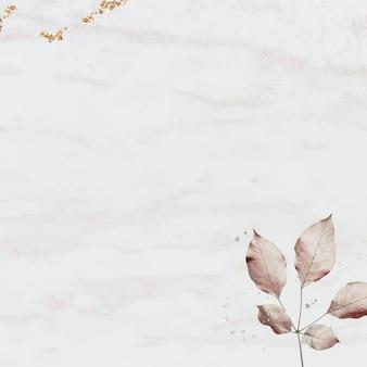 Patrón de hoja rosa sobre fondo con textura de mármol
