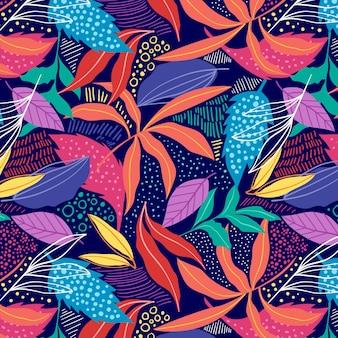 Patrón de hojas abstractas coloridas dibujadas a mano