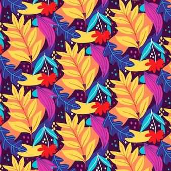 Patrón de hojas abstractas coloridas