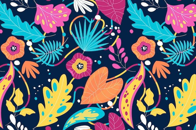 Patron para hojas abstractas dibujadas a mano Vector Premium