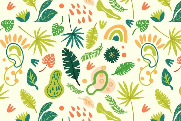 Patron para hojas abstractas dibujadas a mano vector gratuito
