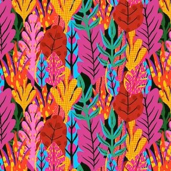 Patrón de hojas abstractas pintadas a mano