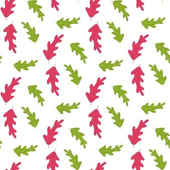 Patrón de hojas de árboles rojos y verdes sobre blanco