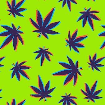 Patrón de hojas de cannabis con efecto glitch