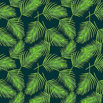 Patrón de hojas de coco sin costuras en color verde
