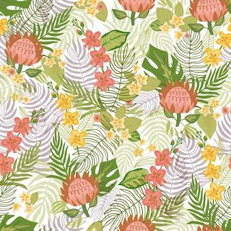 Patrón de hojas de colores y flores exóticas