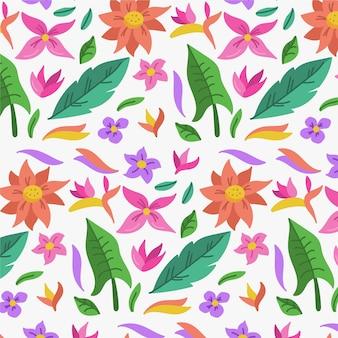 Patrón de hojas de colores y flores tropicales