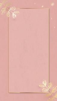 Patrón de hojas doradas con marco dorado en vector de fondo de pantalla de teléfono móvil rosa