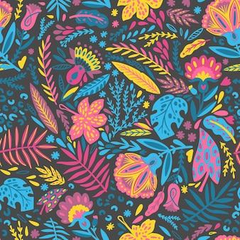 Patrón de hojas y flores exóticas pintadas a mano.