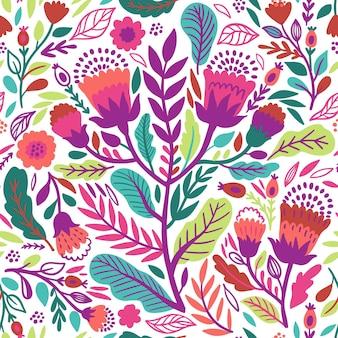 Patrón de hojas y flores exóticas