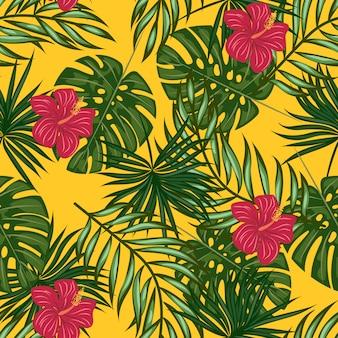 Patrón de hojas y flores tropicales.