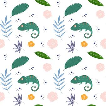 Patrón de hojas y hameleones tropicales.