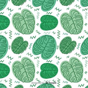 Patrón hojas de monstera dibujadas a mano