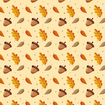 Patrón de hojas de otoño y bellotas