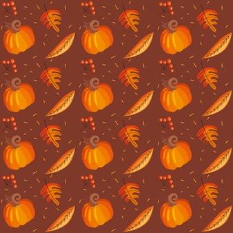 Patrón de hojas de otoño y calabaza