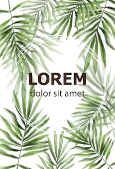 Patrón de hojas de palma acuarela.