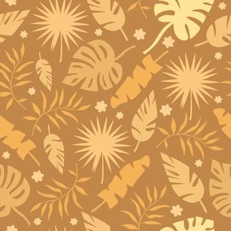 Patrón de hojas de palma dorada