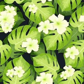 Patrón de hojas de palmera monstera y flores de hibisco.