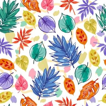 Patrón de hojas pintadas a mano