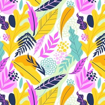 Patrón de hojas repetitivas abstractas dibujadas a mano