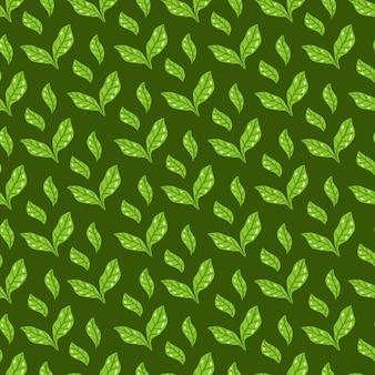Patrón de hojas de té. patrón floral y herbal transparente sobre fondo verde oscuro. fondo de hojas dibujadas a mano. ilustración vectorial. vector de impresión brillante para tela o embalaje.