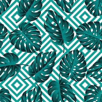 Patrón de hojas tropicales con diseño geométrico.