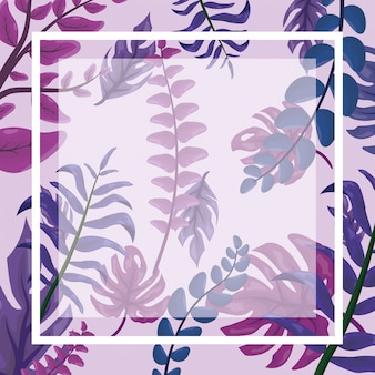 Patrón de hojas tropicales fucsia con marco