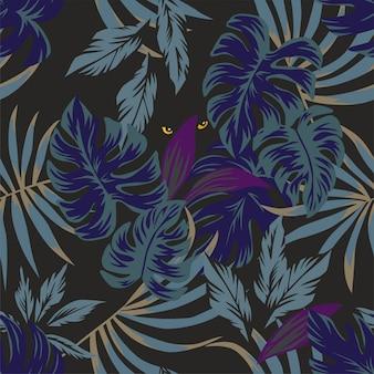 Patrón de hojas tropicales nocturnas con ojos en el medio.
