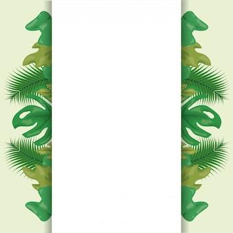 Patrón de hojas tropicales verdes con espacio en blanco