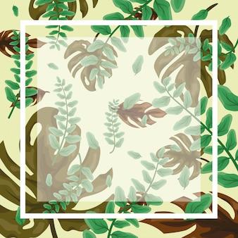 Patrón de hojas tropicales verdes con marco y espacio en blanco para insertar texto o diseño