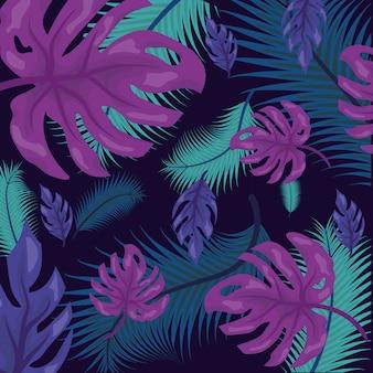 Patrón de hojas tropicales