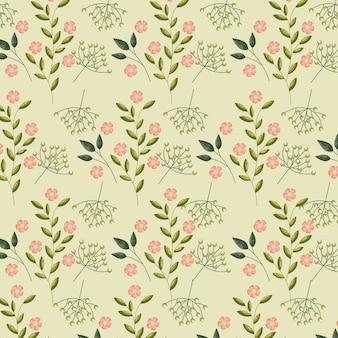 Patrón de hojas verdes y rosas rosadas