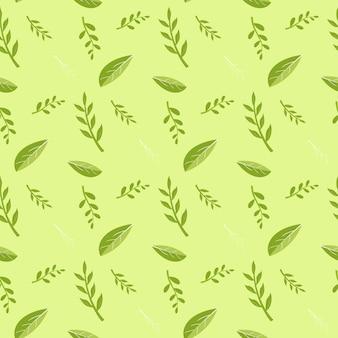 Patrón de hojas verdes y tallos de plantas
