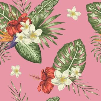 Sin patrón de hojas verdes tropicales con flores de plumeria y hibisco.