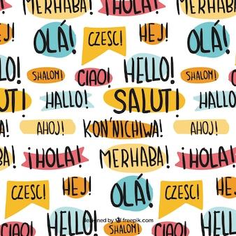 Patrón de hola en distintos idiomas dibujado a mano