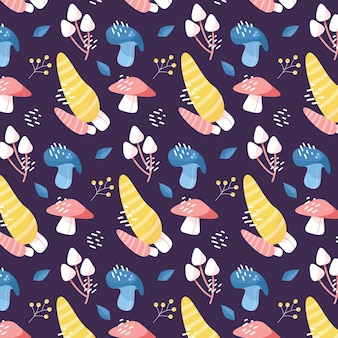 Patrón de hongo colorido dibujado a mano