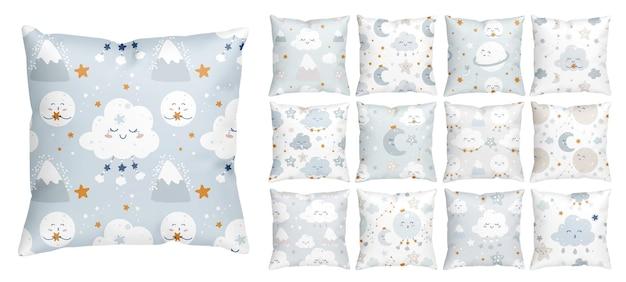 Patrón de hora de acostarse sin costuras con estrellas sonrientes y nubes durmientes para la guardería de bebé