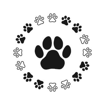 Patrón huellas de un perro o un gato. vector silueta aislado.