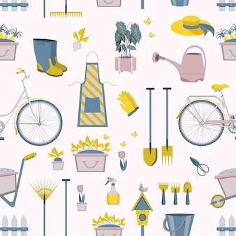 Patrón de iconos de herramientas de jardinería de la agricultura o el hogar del jardín del granjero.