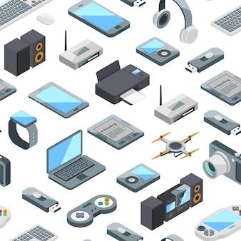 Patrón de iconos isométricos gadgets o ilustración