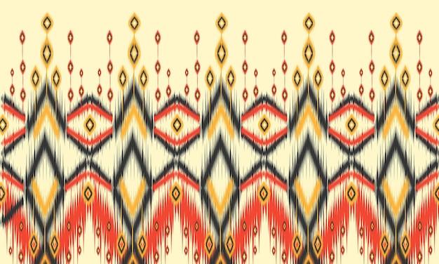 Patrón de ikat étnico geométrico diseño tradicional oriental para el fondo. Vector Premium