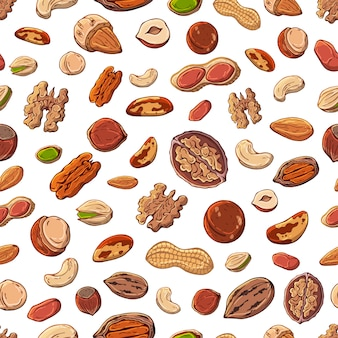 Patrón de ilustraciones vectoriales sobre el tema de las nueces.