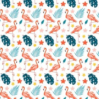 Patrón ilustrado de pájaro flamenco con hojas tropicales